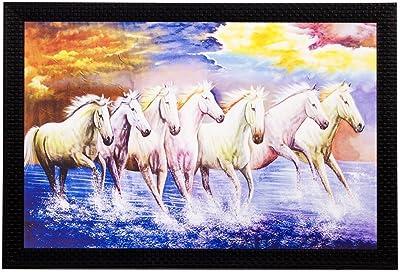 PPD Lucky Vastu White Running Horses HD Quality Matte Textured Framed Synthetic Wood UV Art Painting (50.8 cm x 1.3 cm x 35.6 cm)
