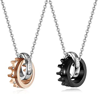 Zysta 2Pcs Engraved Couples Necklaces Pendants for Him and Her Women Men Lover Matching Necklace Set Stainless Steel Crown...