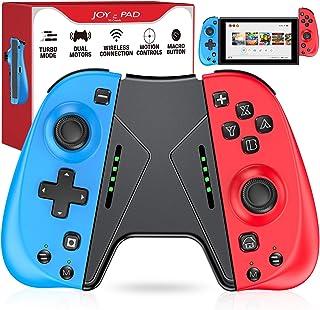 ESYWEN Joy Pad コントローラー 任天堂スイッチ用コントローラー Nintendo Switch用コントローラー、マクロボタンとグリップスタンド付きジョイコンの交換用 (レッド+ブルー)