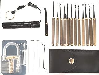 Professional Practice Tool Lock Set, Pick Set with Flashlight (Black)