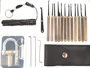 Professional practice tool lock set, pick set with flashlight