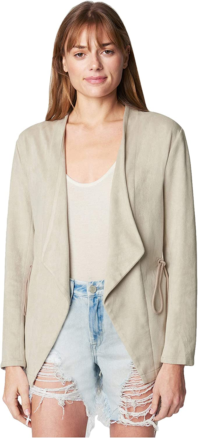 [BLANKNYC] womens Faux Suede Drape Front Jacket With Drawcord Waistband