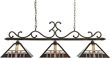 "Miramar Bronze Large Linear Island Pendant Chandelier 56"" Wide Mission Tiffany Style Alfred Geometric Art Glass 3-Light Fixture for Kitchen Island Dining Room - Robert Louis Tiffany"