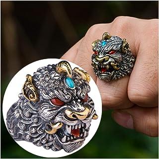 خاتم فضة 925 مصنوع يدويا خاتم Pixiu للرجال والنساء، حجم قابل للتعديل مناسب للعديد من المناسبات، أفضل هدية