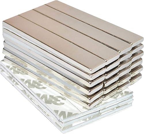 Strong Magnets Rare Earth Neodymium: Bar Super Permanent Metal Rectangular Adhesive, 60x10x3mm Powerful Pull Force, 2...