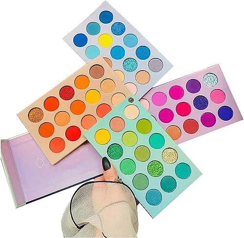60 Colors Eyeshadow Palette, 4 in1 Color Board Makeup Palette Set Highly Pigmented Glitter Metallic Matte Shimmer Nat...