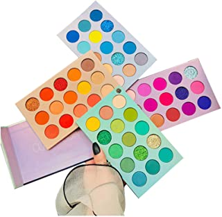 60 Colors Eyeshadow Palette, 4 in1 Color Board Makeup Palette Set Highly Pigmented Glitter Metallic Matte Shimmer Natural ...