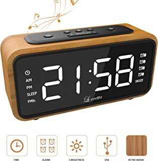 Despertador (Última Versión), Lorretta FM Radio Reloj Digital,Color Madera Reloj Despertador LED Digital con Pantalla LED DE 6.7