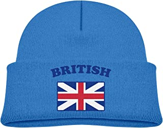 Td45JS&EW Boys and Girls Soft Knitted Cap British Flag Skull Cap
