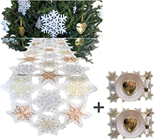 Christmas Table Runner Metallic Snowflakes Embroidered 69 x 15 in + Bonus of 2 Matching PlaceMats | Holiday Table Runner Decorations | Table Linens for New Year's Decoration, Luxury Wedding Reception