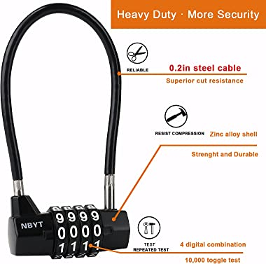 NBYT 4 Digit Cable Combination Padlock with Long Shackle - with Resettable Code - Pad Lock for Double Door Cabinet Lock , Gat