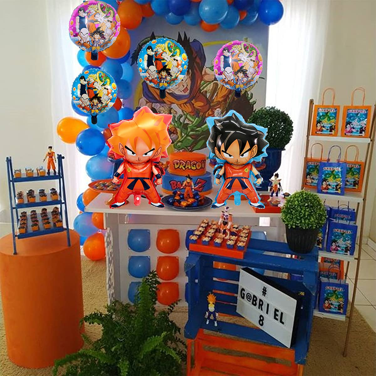 12 Pcs For Dragon Ball Goodie Bags Birthday Party Supplies For Kids,Double Side DBZ Super Saiyan Goku Gohan Character Party Decorations