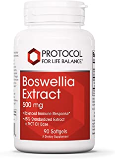 Protocol For Life Balance - Boswellia Extract 500 mg - Balanced Immune Response in MCT Oil Base, Supports Bone, Joint, and...