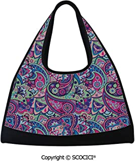 Tennis racket bag,Pattern Based on Traditional Asian Elements Paisley Old Fashioned Floral Decorative,Easy to Carry(18.5x6.7x20 in) Multicolor