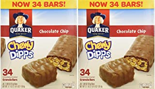 Quaker Chocolate Chip Chewy Dipps Granola Bars 1.09 oz. 34 count (Pack of 2)