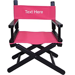 PERSONALIZED IMPRINTED Black Frame Toddler's Directors Chair by Gold Medal - Pink Canvas