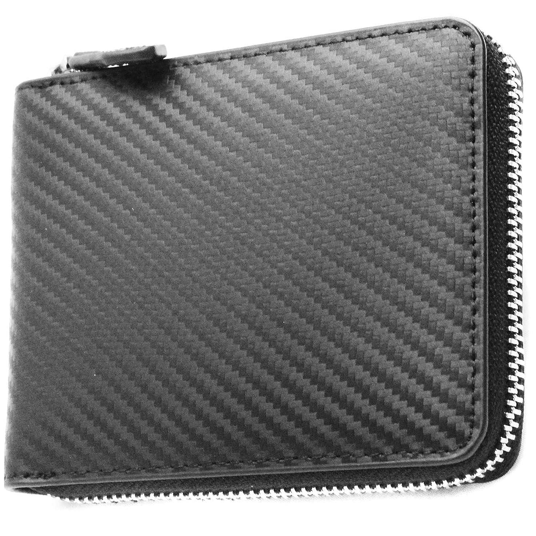 まっすぐ改善する非アクティブ[High-end] 極上カーボンレザー 本革 ラウンドジップ 二つ折り財布 ボックスき付き ME0250_b