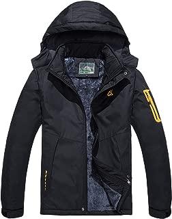 Men's Water Resistant Mountain Ski Jacket Fleece Lined Windproof Jacket Coat with Hood
