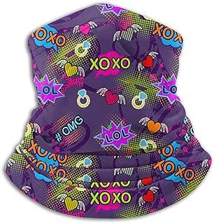 NE Fleece Neck Warmer Gaiter Pop Art Comics Bubbles Soft Microfiber Headwear Face Scarf Mask para Invierno Clima frío y Mantener el Calor para Hombres Mujeres