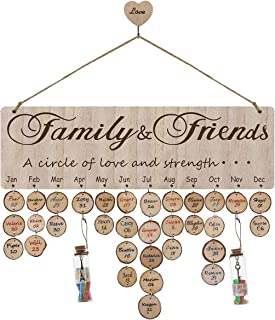 Airelon Family Birthday Calendar Wall Hanging, Handmade Wooden Birthday Plaque Anniversary Holiday Reminder Board with 2 Wishing Bottle Creative Gift Home Decor for Mother's Day/Father's Day