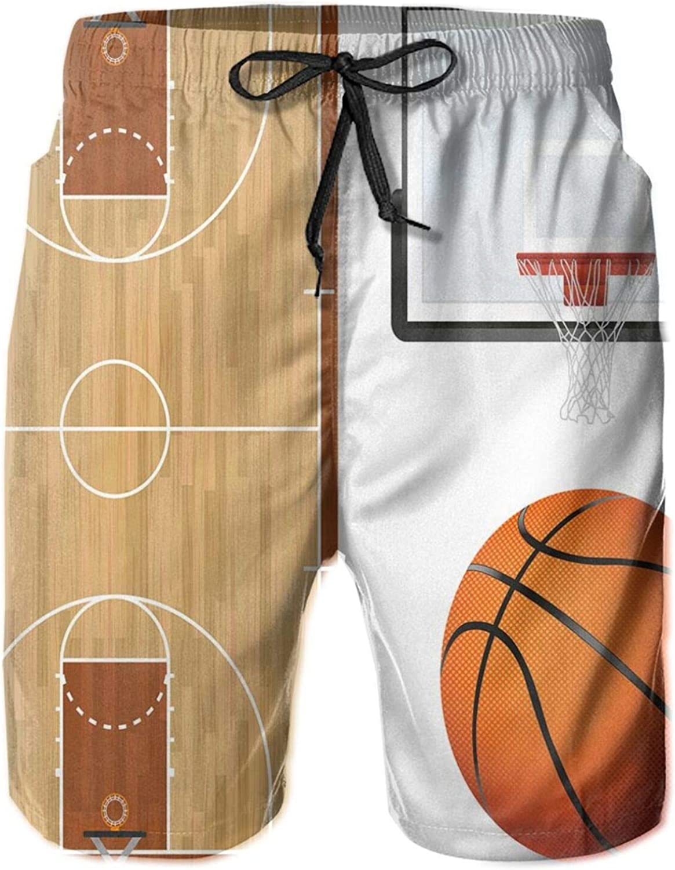 MUJAQ Basketball Court Backboard Illustration Realistic Sports Themed Drawstring Waist Beach Shorts for Men Swim Trucks Board Shorts with Mesh Lining,M