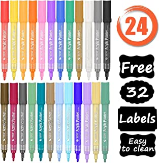 Paint Markers,VIVI SKY Acrylic Paint Pens 24 Colors with Free 32 Chalkboard Labels,Paint Pens Arts Chalk Markers Colored Pens for Plastic,Glass,Ceramic,Wood,Cloth,Rubber,Rock and Any Surface