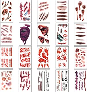 Halloween Costumes Zombie Tattoos for Halloween Party Prop Decorations, Body Scar Stickers for Cos Play (20 Sheet)