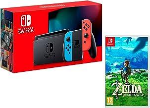 Konsol och Zelda: Breath of The Wild, neonröd/neonblå