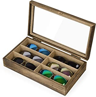 SRIWATANA Sunglasses Case Organizer for Women Men, 6 Slot Wood Eyeglass Eyewear Display Box with Glass Top, Vintage Style