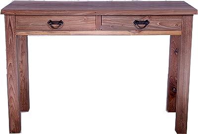 OPIUM OUTLET Telefontisch Schubladentisch Wandtisch Beistelltisch Konsolentisch Flurtisch Massivholz Teak Landhaus-Stil 110 x 45 x 75 cm