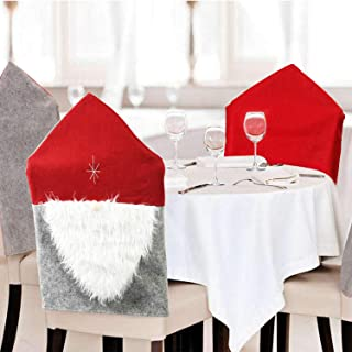 lenbicki Christmas Seat Cover, New Year Chair Covers Santa Clause Red Hat Chair Back Covers Kitchen Chair Covers Sets for Xmas Holiday Festive Decor (red)