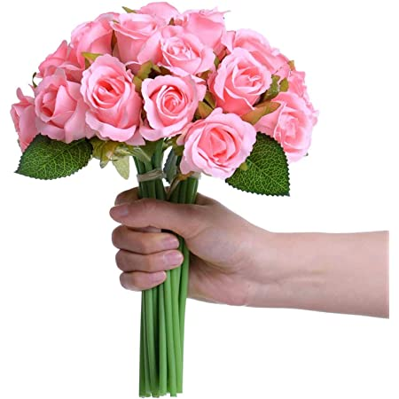 TIED RIBBONS Artificial Rose Flowers Bunches for Vase (12 Heads, 24 cm, Light Pink) - Home Decoration Gift Items for Living Room Corner Table Top Bedroom Wedding (Pot Not Included)