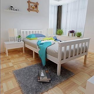 Panana - (196x98x82cm Marco de Cama 1 Plaza Base Individual Estructura de Madera Pino Modelo Sencillo Color Blanco Somier para Dormitorio Cuarto Desarmable