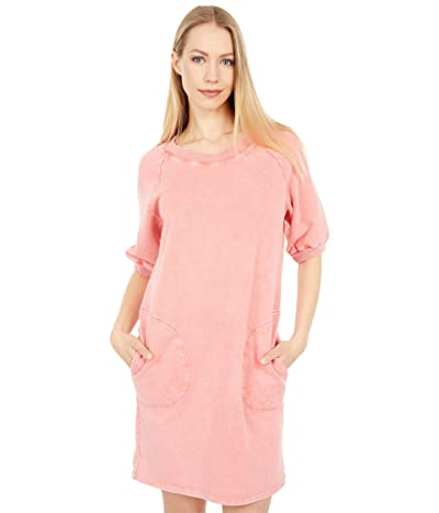 Mod-o-doc Washed Cashmere French Terry Short Sleeve Sweatshirt Dress with Side Neck Embroidery Women