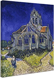 Wieco Art Church at Auvers Giclee Canvas Prints Wall Art by Vincent Van Gogh Famous Paintings Reproduction Modern Classic Abstract Artwork Landscape Pictures for Wall Decor Home Office Decorations