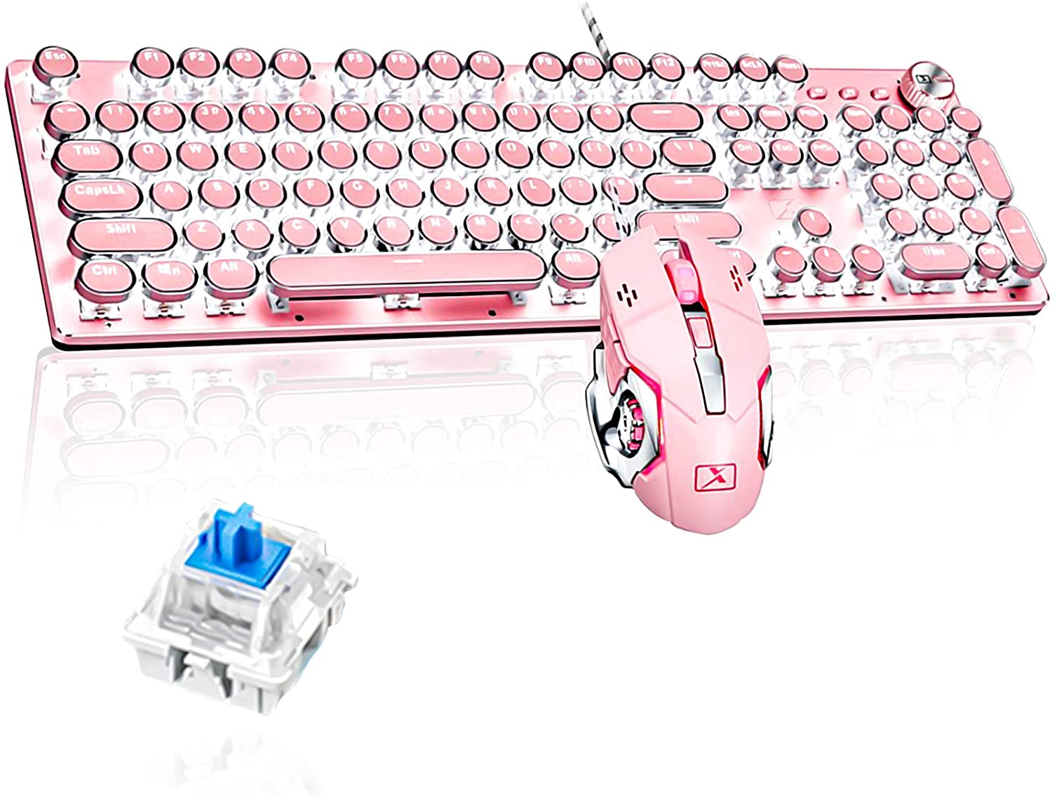 Pink Vintage Mechanical Gaming Keyboard with Mouse Retro Punk Typewriter-Style White LED Backlit USB Wired Mechanical Keyboard for PC Laptop Desktop Computer Game and Office(Blue Switch)