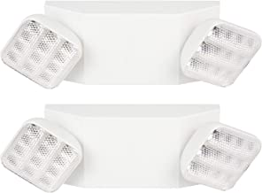 Hykolity Two Head Emergency Light, Adjustable Integrated LED Wall Mount White with Battery Back-up - 2 Pack