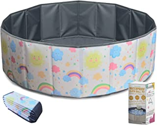 Ball pit for toddlers - Foldable & Portable large fabric ball pits for kids and babies. Ocean, Colored Circles, Pink Designs. Waterproof & Durable indoor outdoor use ball pit playpen (Rainbow)