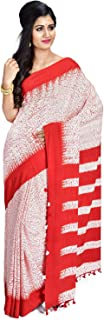 SareesofBengal Women's Handloom Cotton Shibori Print Saree With Blouse Piece Red And White