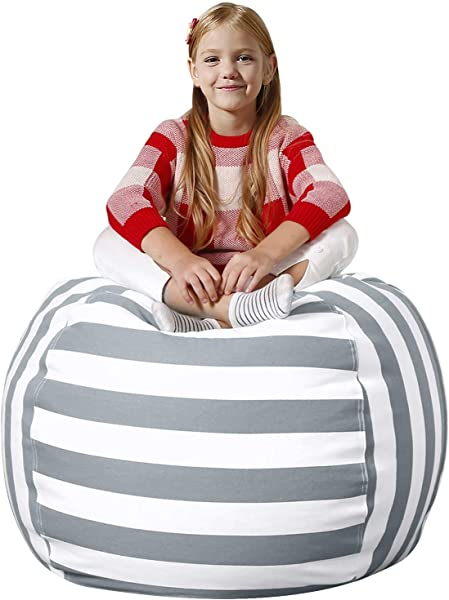 Aubliss Stuffed Animal Bean Bag Storage Chair Beanbag Covers Only For Organizing Plush Toys Turns Into Bean Bag Seat For Kids When Filled Premium Cotton Canvas 38 Extra Large Gray White Striped