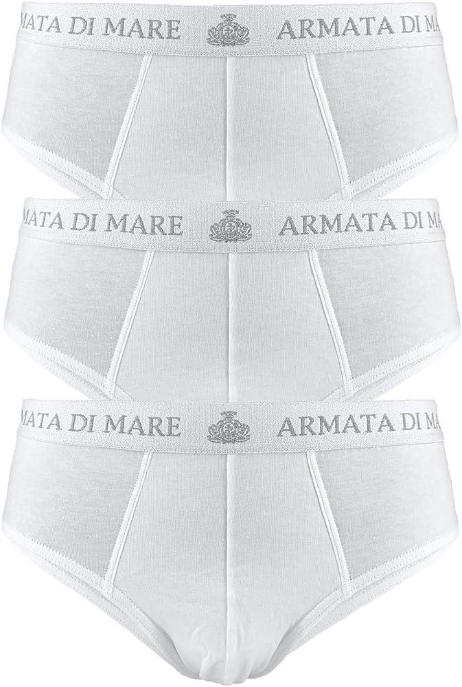 Armata di mare, 3 paia di mutande , slip per uomo, in cotone elasticizzato , bianchi