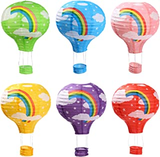 Hot Air Balloon Paper Lanterns for Wedding Birthday Engagement Christmas Party Decoration Rainbow Set Pack of 6