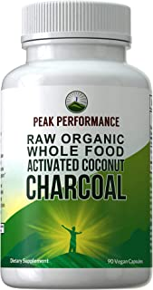 Organic Activated Charcoal Capsules from Wild Harvested Organic Coconut Shells. Best Safe Charcoal Pills Supplement for Detox, Gas Relief, Bloating. for Men and Women 90 All Natural Tablets
