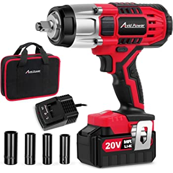 "Avid Power 20V MAX Cordless Impact Wrench with 1/2""Chuck, Max Torque 330 ft-lbs (450N.m), 3.0A Li-ion Battery, 4Pcs Driver Impact Sockets, 1 Hour Fast Charger and Tool Bag, Avid Power"