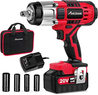 "Best Avid Power 20V MAX Cordless Impact Wrench with 1/2""Chuck, Max Torque 330 ft-lbs (450N.m), 3.0A Li-ion Battery, 4Pcs Driver Impact Sockets, 1 Hour Fast Charger and Tool Bag, Avid Power Review"