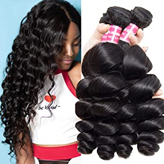 Jolia Hair 8A Grade Unprocessed Virgin Brazilian Loose Wave 3 Bundles 100% Brazilian Virgin Human Hair Weave Extensions Natural Color 95-100g/pc (20 18 16inch)