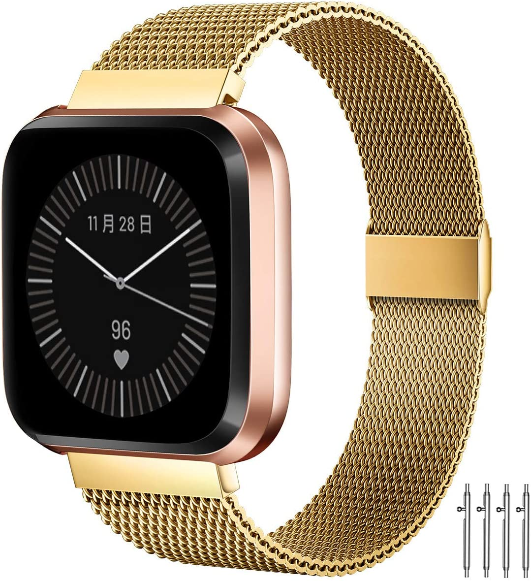 MioHHR Bands Compatible with Fitbit Versa/Fitbit Versa 2/Fitbit Versa Lite for Women Men, Breathable Stainless Steel Strap, Adjustable Replacement Wristband Accessories for Fitbit Versa -Gold