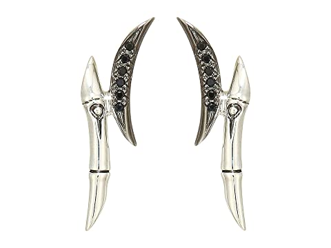 John Hardy Bamboo Earrings with Black Sapphire and Black Spinel