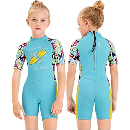 Gogokids Boys Girls Wetsuit Kids Swimsuit 2.5mm Warm Rash Guard One Piece Children Swimwear Sun Protection Thermal Thicken Diving Snorkelling Suit UV 50+