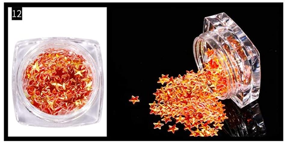 1 Box Star Glitter Star Sprinkle / 3D Confetti Star Sequin Micro Star/Fake Topping (12 Colors / 3mm / 3g) Glitter Sequins (Patter 12) - Nail Glitter
